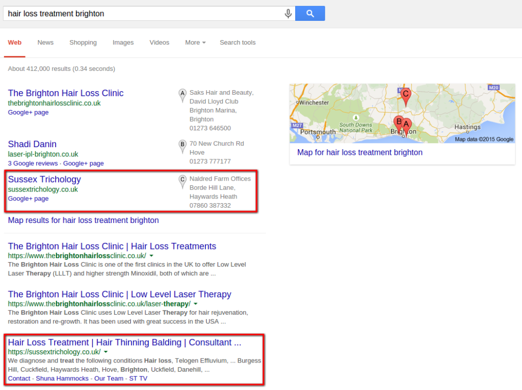 """Hair Loss Treatment Brighton"" - 3rd in Universal Search & Local Search"