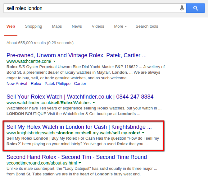 """Sell Rolex London"" - 3rd in Universal Search"